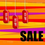 Red Discount Tags in Multicolour Background with Sale Text